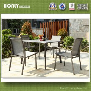 Outdoor Aluminum Frame Glass Table Modern Restaurant Dining Table Sets