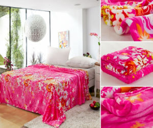 100 Polyester Rotary Printing Flannel Fleece Blanket pictures & photos