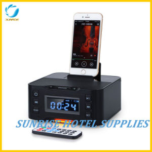 Dual USB Charging Alarm Clock Bluetooth Docking Station for Hotel pictures & photos