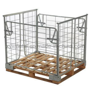 Stackable Euro Steel Stackable Pallet Wire Mesh Container Retention Unit pictures & photos