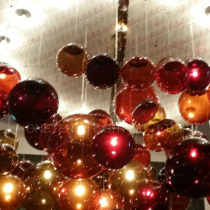 Round Metal Canopy Incandescent Glass Ball Chandelier at Bar pictures & photos