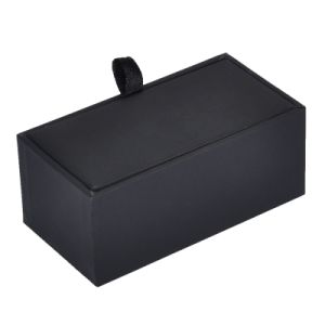 Black PU Leathe Rrectangle Jewelry Box for Cufflink Packaging Cuff-Link Jewelry Organizer for Men pictures & photos
