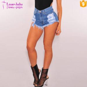 Blue Denim Destroyed High Waist Shorts Jeans L531 pictures & photos