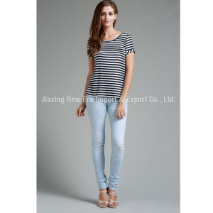 Women′s Stripe Short Sleeve Knit T-Shirt