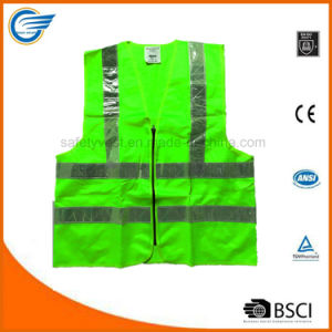 Hi Vis Reflective Safety Vest with PVC Strip and Zipper pictures & photos