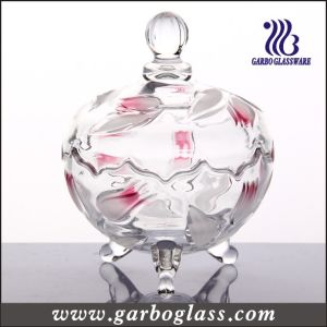 Glass Candy Jar Cut Line with Flower Design (GB1804YJX/PDS) pictures & photos
