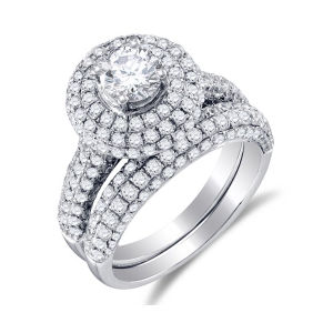 925 Silver Prong Set Round Diamond Engagement Ring and Wedding Band Set pictures & photos