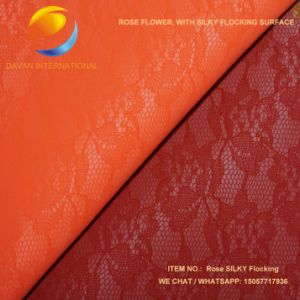 Faux Leather Rose Design Silky Flocking Material for Shoes Bags pictures & photos