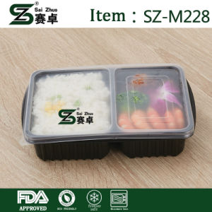 Disposable 2 Compartment Plastic Lunch Box for Storage with Arilight Lids pictures & photos