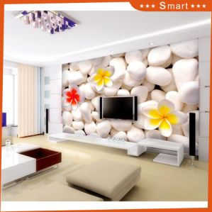 White Stone and Frangipani TV Background 3D Oil Painting pictures & photos