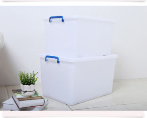 Top Quality Plastic Products 50L Plastic Storage Box Food Container Gift Box Packing Box with Handles and Wheels pictures & photos