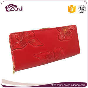Metal Clutch Frames Purse, PU Leather Red Long Embossed Women Wallet pictures & photos