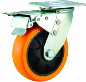 "3""/4""/5"" Orange Color PU Swivel Caster Wheel Medium Duty Industrial Trolley PU Castor pictures & photos"