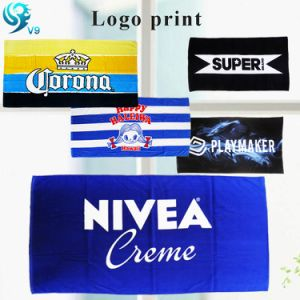 100% Cotton Velour Printed Brand Custom Logo Towel pictures & photos
