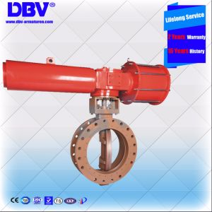 Industrial Pneumatic Single Acting Metal Seated Flange Butterfly Valve