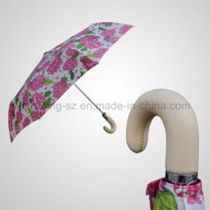 Automatic Open&Close 3 Fold Umbrella Real Leather Handle Fashion Rain/Sun Umbrella (JF-ADB301) pictures & photos