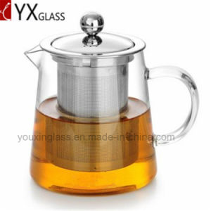 High Quality Heat Resistant Glass Tea Pot with Stainless Steel Strainer Flower Booming Tea Kettle Water Carafe Glass Teapot Set