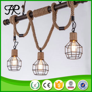 Vintage Industrial Hemp Rope Pendant Light with Birdcage Style pictures & photos