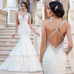 Backless Bridal Dress Vestido Mermaid Lace Wedding Gowns W1223 pictures & photos