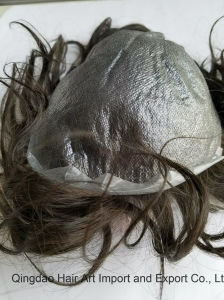 6 Inch Indian Remy Hair PU Base V Knot Toupee pictures & photos