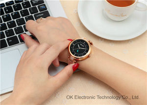 Customized Logo Stainless Steel Leather Quartz Watch Luxury Women Watches pictures & photos