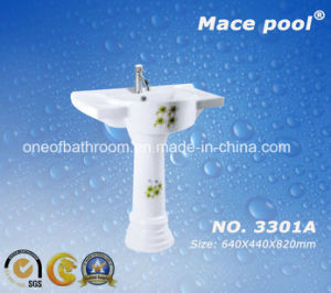 Ceramic Pedestal Basin with Orchid Pattern (3301A) pictures & photos