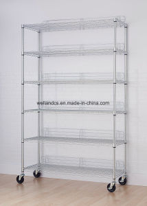 OEM 6-Tier NSF Chrome Wire Shelving Rack with Wheels pictures & photos