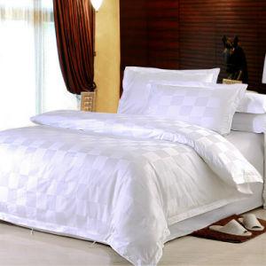 New Design White Satin Check Bedding Set/Checked Hotel Cotton Bed Linen (WS-2016010)
