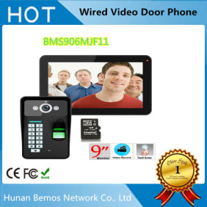 9inch Recording RFID Password Fingerprint Recognition 900tvl Color Video Doorphone Intercom Rainproof Night Vision 8g TF Card pictures & photos