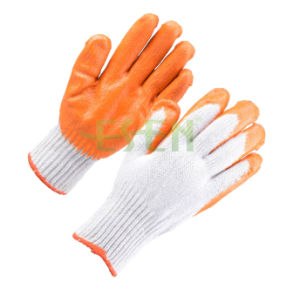 Cotton Glove PU Coated on Palm and Fingers (D14-H1) pictures & photos