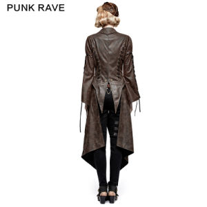 Y-731 Steampunk Hot Stamping Dovetail Woven Jacket with Removable Hem pictures & photos