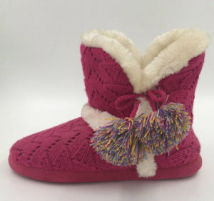 Lds Rose Red Knit Indoor Pompom Boots