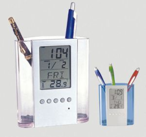 Materials with Transparent Gift clock with Pen Holder pictures & photos