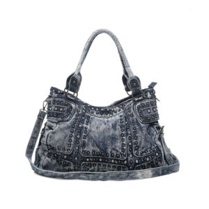 Fashionable Cowgirl Rivets Crystals Denim Ladies Bag (MBNO042136) pictures & photos