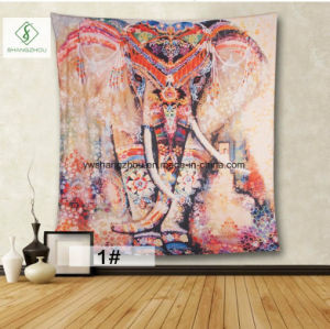 2017 European Square Tapestry Murals with Elephant Digital Printed Curtain pictures & photos