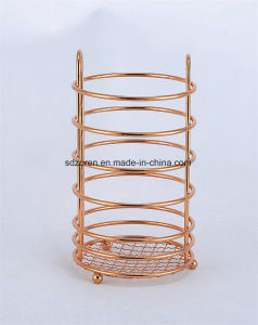 Gold Chromed Metal Wire Utensil Holder pictures & photos