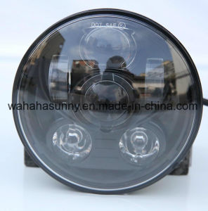 "High Quality 5.75"" Black Round LED Projection Daymaker Harley Headlight for Motorcycles pictures & photos"