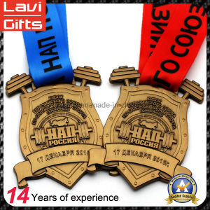 Customized Sport Old Gold Weightlifting Medal with Colorful Ribbon pictures & photos