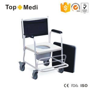 Rehabilitation Therapy Suppliers Ce Approved Powder Coating Adjustable Economic Steel Foldable Commode Chair for Disabled with Wheels pictures & photos