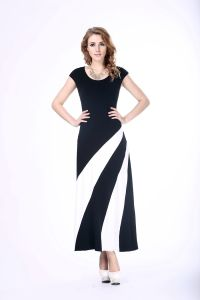 Woman Summer Celeb Style Short Sleeve Slim Maxi Dress with Belt Beach Long Dress pictures & photos