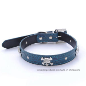 Cheap Hot Sale Leather Skull Rhinestones Pet Collars and Leashes pictures & photos