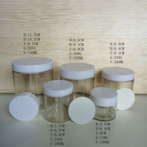 Empty Glass Food Jars 6oz 10oz 12oz 22oz in Stock with Plastic Cap pictures & photos