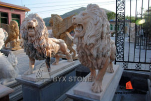 Sunset Red Marble Stone Lion Sculpture for Garden Decoration pictures & photos