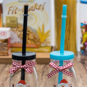 Christmas Style Glass Juice Milk Bottle with Straw pictures & photos