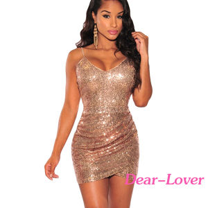 Rose Gold Sequin Ruched Club Dress pictures & photos