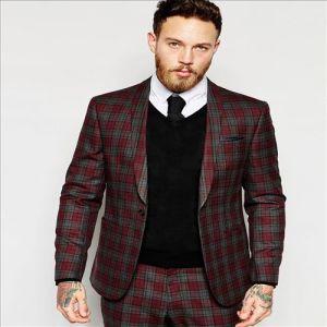 2016 Men′s Red Tartan Check Slim Fit Suit Jacket pictures & photos