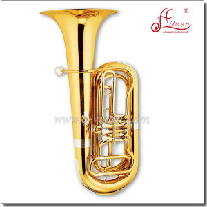 3 Valves Gold Lacquer Bb Key Rotary Tuba pictures & photos