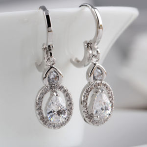 Silver Cubic Zirconia Dangle and Gold Earrings