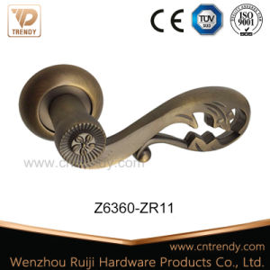 Hollow out Zinc Alloy Door Lever Handle on Round Rosette (Z6376-ZR11) pictures & photos