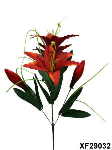 Artificial/Plastic/Silk Flower Single Stem of Tiger Lily with 5 Branches (XF29032) pictures & photos